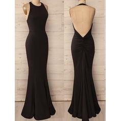 Trumpet/Mermaid Halter Floor-Length Evening Dresses With Ruffle (017196707)