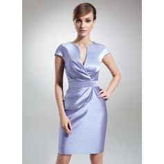Sheath/Column Satin Short Sleeves V-neck Knee-Length Zipper Up Mother of the Bride Dresses