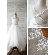 A-Line/Princess Straps Sweep Train With Beading Tulle Flower Girl Dresses