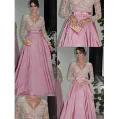 Ball-Gown Floor-Length Prom Dresses V-neck Taffeta Long Sleeves (018144666)
