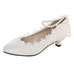 Women's Closed Toe Low Heel Lace Leatherette With Applique Wedding Shoes