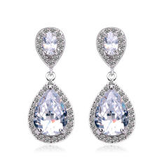 Earrings Copper/Zircon/Platinum Plated Pierced Ladies' Exquisite Wedding & Party Jewelry