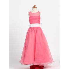 Stunning Scoop Neck A-Line/Princess Flower Girl Dresses Floor-length Taffeta/Organza Sleeveless (010007718)