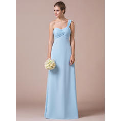 Empire Chiffon Bridesmaid Dresses Ruffle One-Shoulder Sleeveless Floor-Length (007057411)