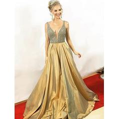 Chic Satin Evening Dresses A-Line/Princess Floor-Length V-neck Sleeveless