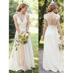 Deep V Neck A-Line/Princess Wedding Dresses Chiffon Ruffle Lace Short Sleeves Floor-Length