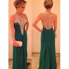 Sheath/Column Scoop Neck Sweep Train Chiffon Prom Dresses With Beading