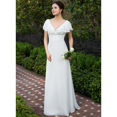 A-Line/Princess Sweetheart Floor-Length Wedding Dresses With Ruffle Cascading Ruffles (002211503)