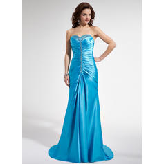 Trumpet/Mermaid Sweetheart Sweep Train Prom Dresses With Ruffle Beading Sequins (018004829)