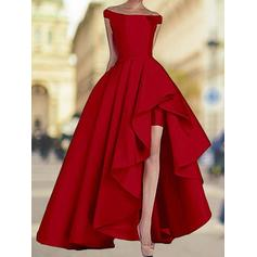 A-Line/Princess Off-the-Shoulder Asymmetrical Prom Dresses With Cascading Ruffles