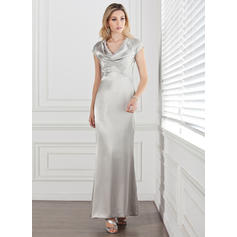 Sheath/Column Charmeuse Short Sleeves Cowl Neck Ankle-Length Zipper Up Mother of the Bride Dresses (008211185)
