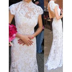 Trumpet/Mermaid Lace Sleeveless High Neck Sweep Train Wedding Dresses (002144593)