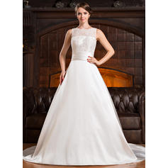 Scoop A-Line/Princess Wedding Dresses Satin Lace Ruffle Beading Sequins Bow(s) Sleeveless Chapel Train