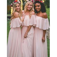 A-Line/Princess Chiffon Bridesmaid Dresses Cascading Ruffles Off-the-Shoulder Sleeveless Floor-Length