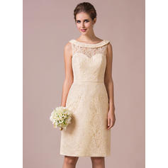 Sheath/Column Lace Bridesmaid Dresses Scoop Neck Sleeveless Knee-Length (007198816)