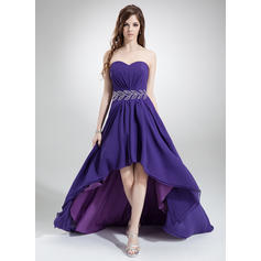 A-Line/Princess Sweetheart Asymmetrical Prom Dresses With Ruffle Beading (018022777)