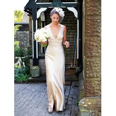Sheath/Column Deep V Neck Floor-Length Wedding Dresses With Beading (002148023)