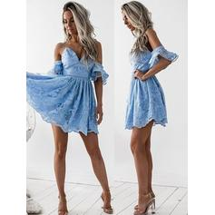 A-Line/Princess Off-the-Shoulder Short/Mini Lace Homecoming Dresses With Cascading Ruffles (022212453)