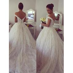 Gorgeous Off-The-Shoulder Ball-Gown Wedding Dresses Court Train Tulle Sleeveless (002210841)
