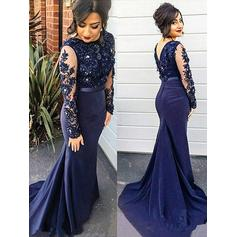 Trumpet/Mermaid Satin Prom Dresses Lace Scoop Neck Long Sleeves Sweep Train