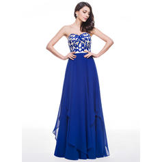 A-Line/Princess Sweetheart Floor-Length Prom Dresses With Lace Cascading Ruffles (018059414)