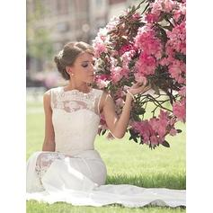 A-Line/Princess Scoop Court Train Wedding Dresses With Lace
