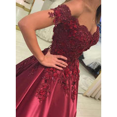 Ball-Gown Satin Prom Dresses Beading Appliques Lace Off-the-Shoulder Sleeveless Floor-Length (018148399)