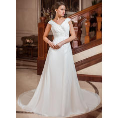 A-Line/Princess Sweetheart Chapel Train Wedding Dresses With Ruffle Beading (002211288)