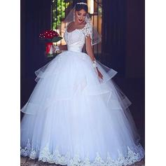 Ball-Gown Sweetheart Floor-Length Wedding Dresses With Lace Cascading Ruffles