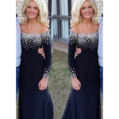 Trumpet/Mermaid Jersey Long Sleeves Off-the-Shoulder Sweep Train Zipper Up Mother of the Bride Dresses