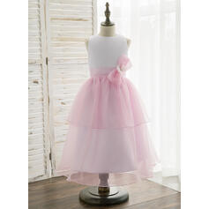 A-Line/Princess Tea-length Flower Girl Dress - Organza/Satin Sleeveless Scoop Neck With Bow(s)