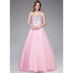 Ball-Gown Sweetheart Floor-Length Prom Dresses With Beading