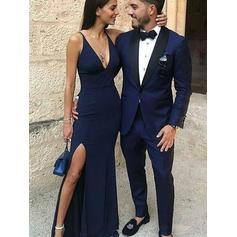 Magnificent Jersey Evening Dresses Sheath/Column Floor-Length V-neck Sleeveless