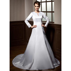 Scoop A-Line/Princess Wedding Dresses Satin Lace Beading Long Sleeves Chapel Train
