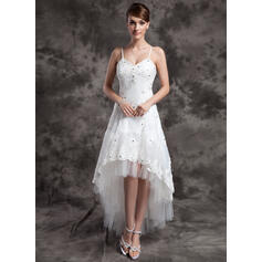 A-Line V-neck Asymmetrical Organza Tulle Wedding Dress With Beading Appliques Lace