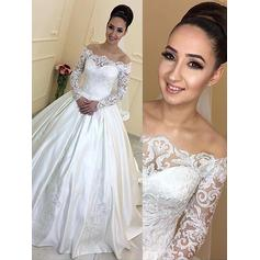 Chic Off-The-Shoulder Ball-Gown Wedding Dresses Court Train Satin Long Sleeves (002210855)