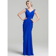 Trumpet/Mermaid Jersey Sleeveless V-neck Floor-Length Zipper Up Mother of the Bride Dresses