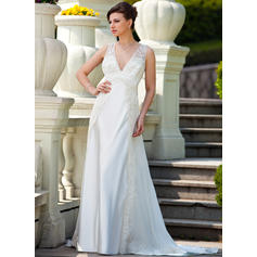 A-Line/Princess Sweetheart Court Train Wedding Dresses With Ruffle Lace Beading