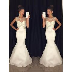 Trumpet/Mermaid Scoop Neck Sweep Train Evening Dresses With Beading
