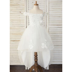 A-Line Asymmetrical Flower Girl Dress - Tulle/Lace Sleeveless Off-the-Shoulder With Beading