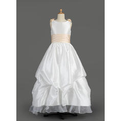 Sexy Scoop Neck A-Line/Princess Flower Girl Dresses Floor-length Taffeta/Organza Sleeveless