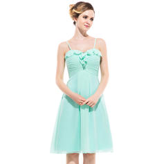 Empire Sweetheart Knee-Length Bridesmaid Dresses With Cascading Ruffles