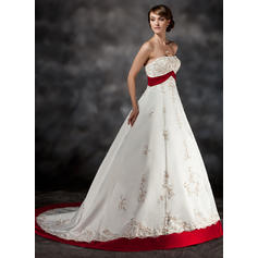 Ball-Gown Sweetheart Court Train Wedding Dresses With Sash Beading Appliques Lace