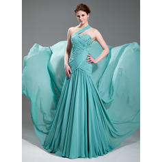 A-Line/Princess One-Shoulder Court Train Evening Dresses With Ruffle Beading Appliques Lace (017019733)