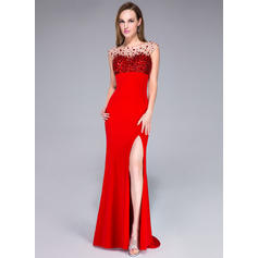 Trumpet/Mermaid Jersey Prom Dresses Beading Sequins Split Front Scoop Neck Sleeveless Sweep Train (018042685)