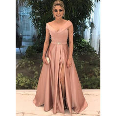 A-Line/Princess V-neck Floor-Length Satin Prom Dresses With Beading Split Front