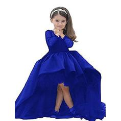 Ball Gown Scoop Neck Asymmetrical With Sash Satin Flower Girl Dresses (010211731)