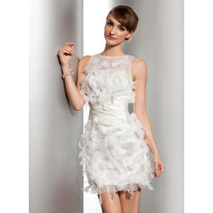 Flattering Scoop Sheath/Column Wedding Dresses Short/Mini Satin Organza Sleeveless (002211059)