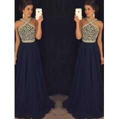 A-Line/Princess V-neck Floor-Length Chiffon Prom Dresses With Beading (018217270)