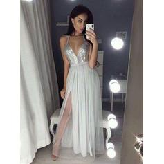 2018 New Chiffon Evening Dresses A-Line/Princess Floor-Length V-neck Sleeveless